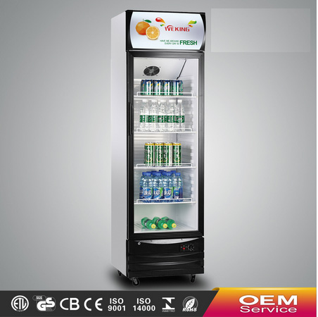 Single door glass display commercial showcase refrigerator