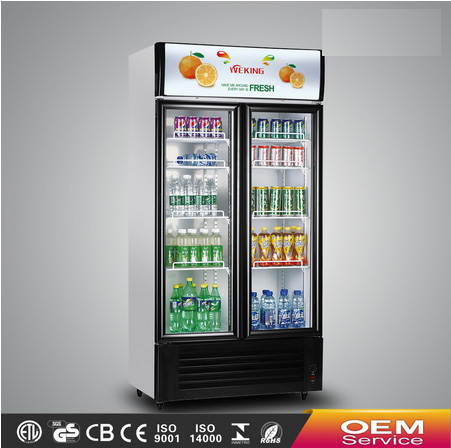 Double doors glass display commercial showcase refrigerator supermarket equipment