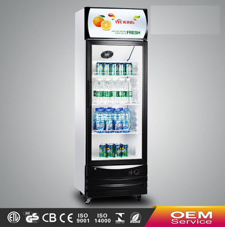 Commercial showcase refrigerator supermarket equipment single door glass display