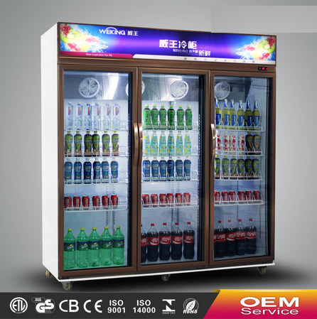 Supermarket commercial triple doors showcase glass display showcase