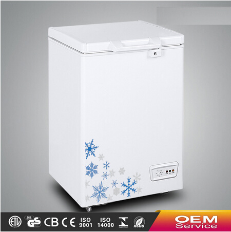 Chinese OEM Wholesale Color Painted Handle Lock Sliding Glass Door Chest Freezer CF-108(95L) with CE CB Certificate