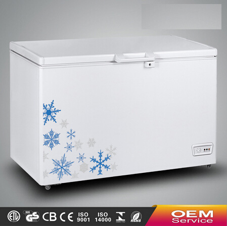 Chinese OEM Wholesale Color Painted Handle Lock Sliding Glass Door Chest Freezer CF-328(302L) with CE CB Certificate