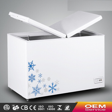 Chinese OEM Wholesale Color Painted Handle Lock Sliding Glass Door Chest Freezer CF-246(227L) with CE CB Certificate