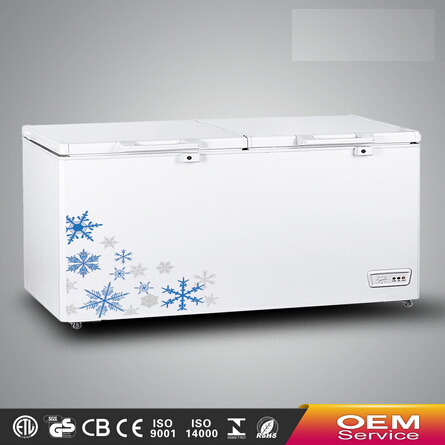 Chinese OEM Wholesale Color Painted Handle Lock Sliding Glass Door Chest Freezer CF-691(565L) with CE CB Certificate