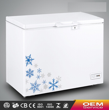 Chinese OEM Wholesale Color Painted Handle Lock Sliding Glass Door Chest Freezer CF-268(252L) with CE CB Certificate