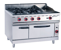 4-burner Gas range& Griddle with Gas oven