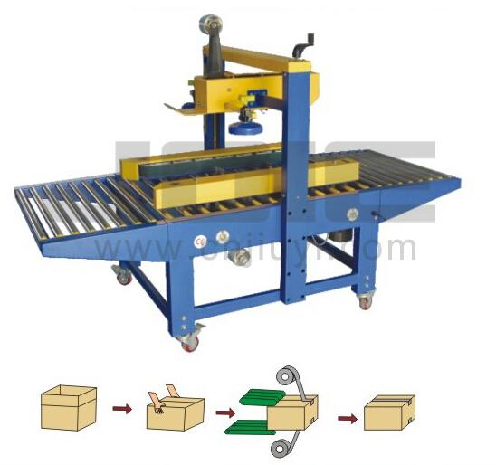 Left-right animate adhesive tape carton sealer