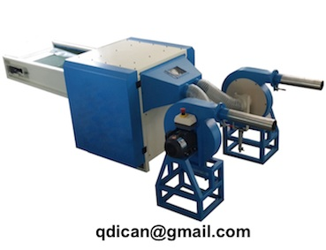Fiber opening and pillow filling machine with 2 nozzles