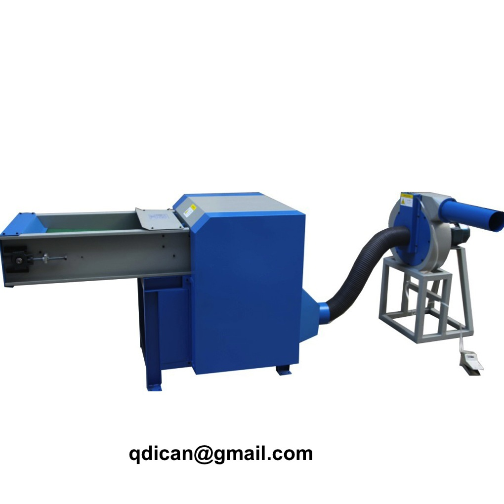 Fiber carding and filling machine for pillow cushion stuffing