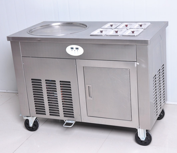 Single Pot Fried Roll Ice Cream Machine With Six Cooling Holes
