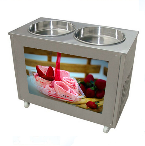 Stainless Steel  Fry Roll Ice Cream Machine with Double Pan