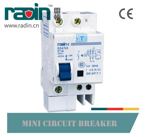 Dz47le-63 Series Leakage Miniature Mini Circuit Breaker 16A ELCB