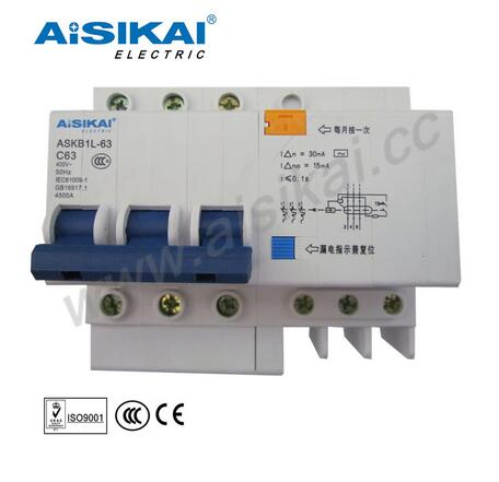 ASKB1-C63A Series Miniature Circuit Breaker 63A 3 poles MCCB