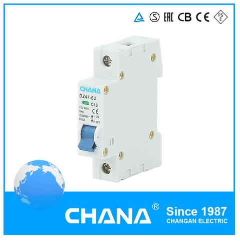 Dz47-63 Series 1p+N 1-63A MCB mini Circuit Breaker with Indicator