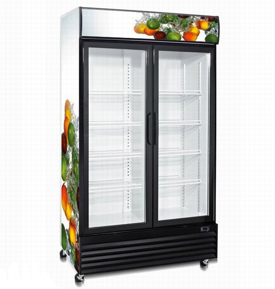 Double Door Upright Display Cooler with Dynamic Cooling