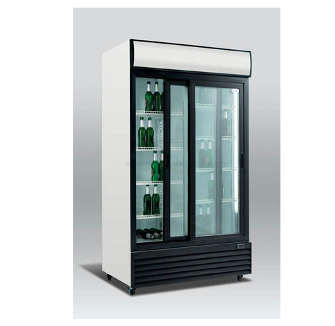 Upright Glass 2 Doors Beverage Refrigerated Display Showcase