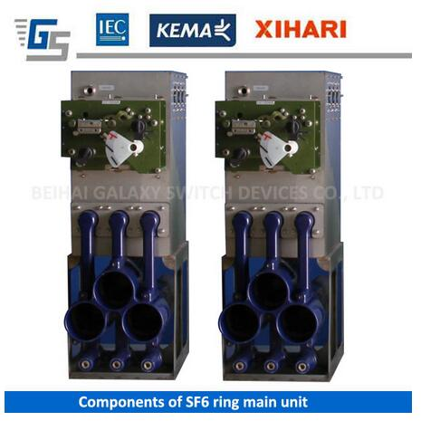 Drive mechanism and gas tank for SF6 insulated ring main unit