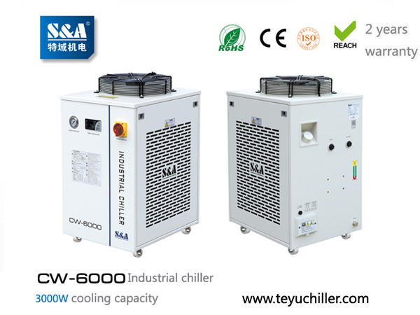 S&A CNC router chiller with water filter installed and r410a refrigerant loaded
