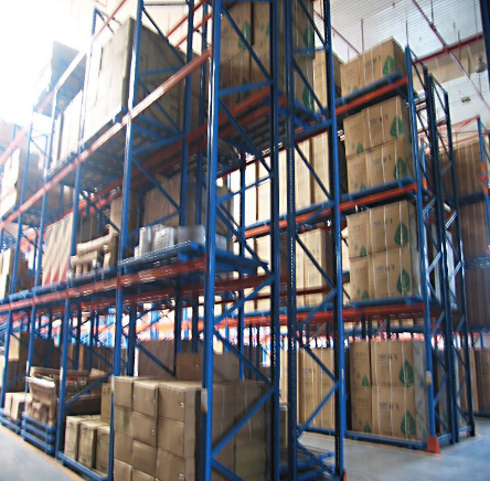 very narrow heavy duty warehouse storage pallet rack