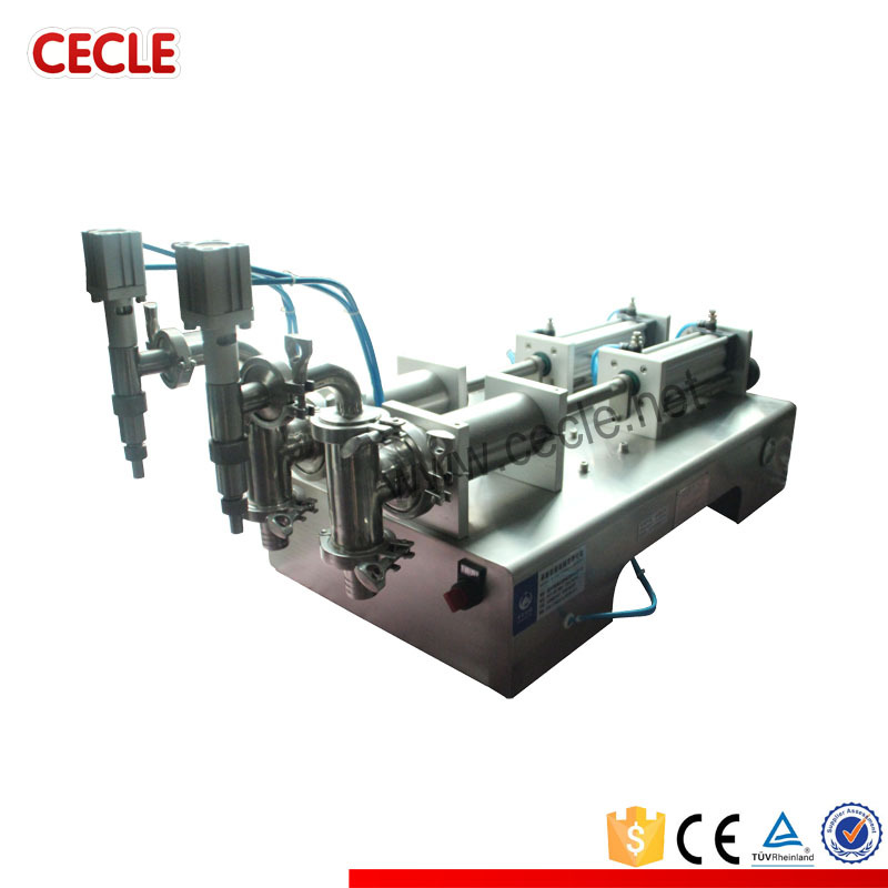 DF6-1200 semi automatic plastic bottle filling machine, double head bottle filling machine