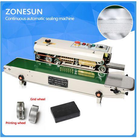 ZONESUN FR-770 continuous Expanded food brand sealer aluminum foil plastic bags line sealing machine