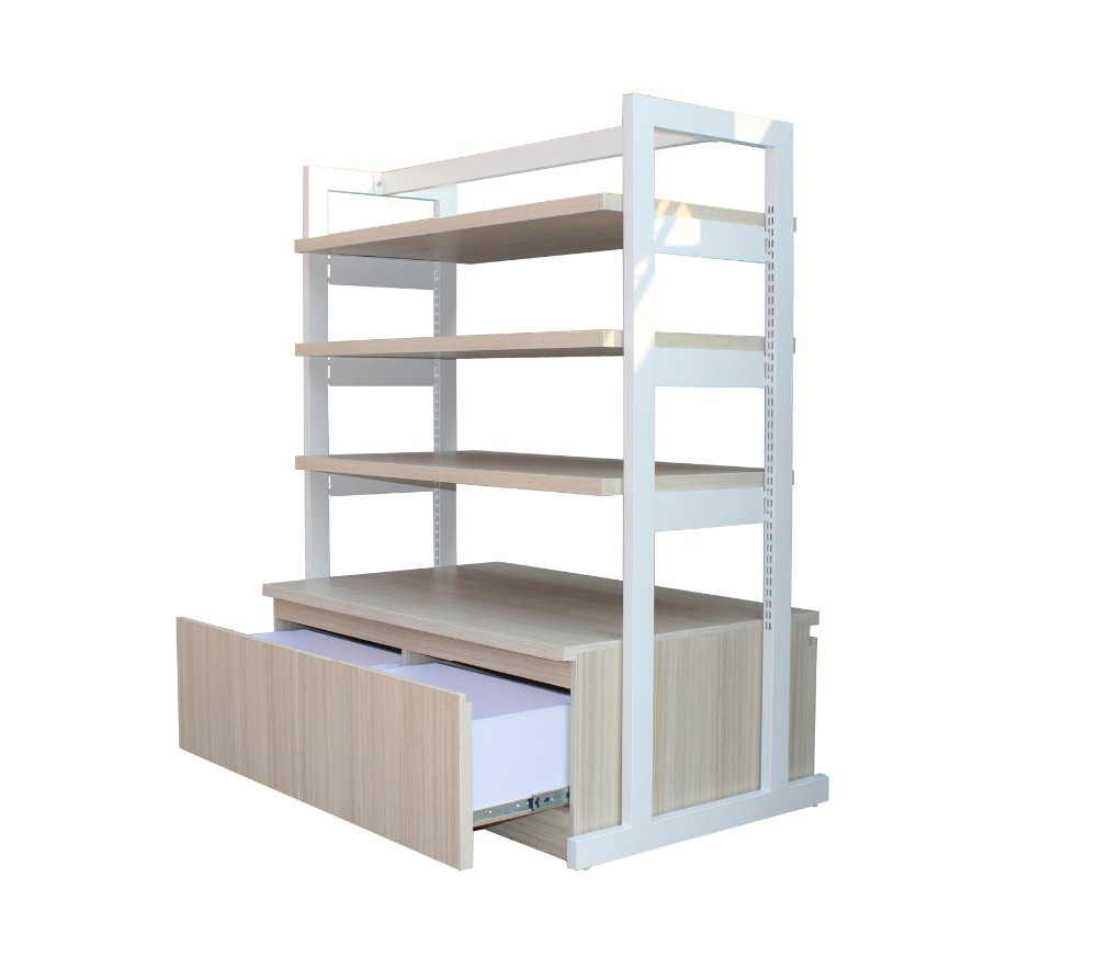 New Style and High Quality wood gondola shelving