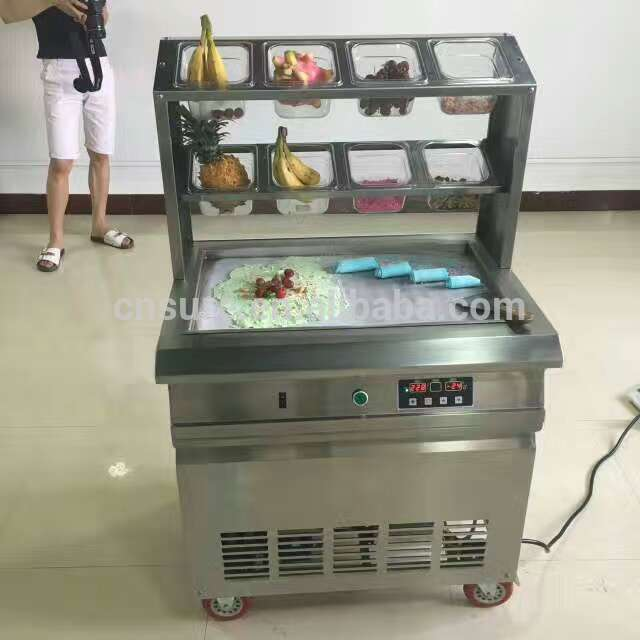 Intellective thailand style roll fried ice cream machine with flat table