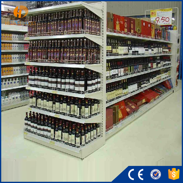 Heda double-sided high quality heavy duty metal durable supermarket interior design with supermarket racking