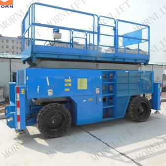 SPS-10RT rough terrain 10m diesel engine scissor car lift flush