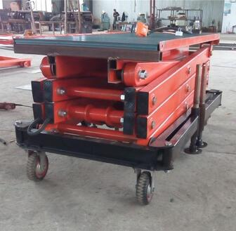 Manufacturer mobile four wheels portable hydraulic scissor table lift