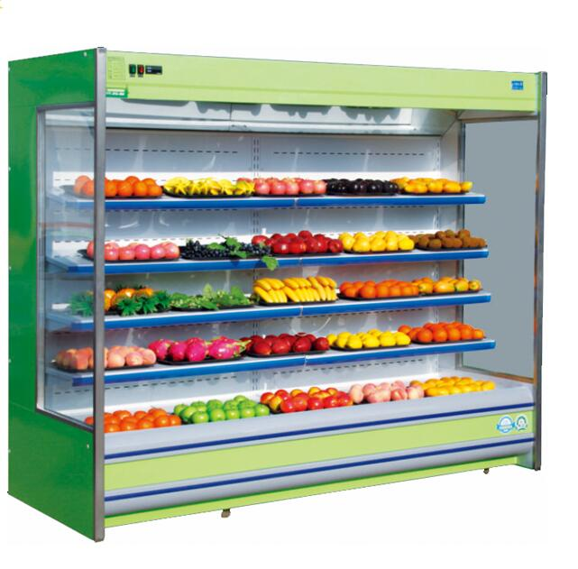 CE approved vertical front open supermarket refrigerator showcase