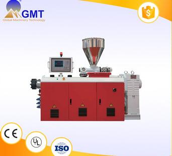 Conical co-rotating twin screw plastic extruder machine