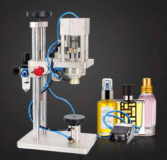 Semi automatic packaging spray perfume bottle sealing capping crimping machine