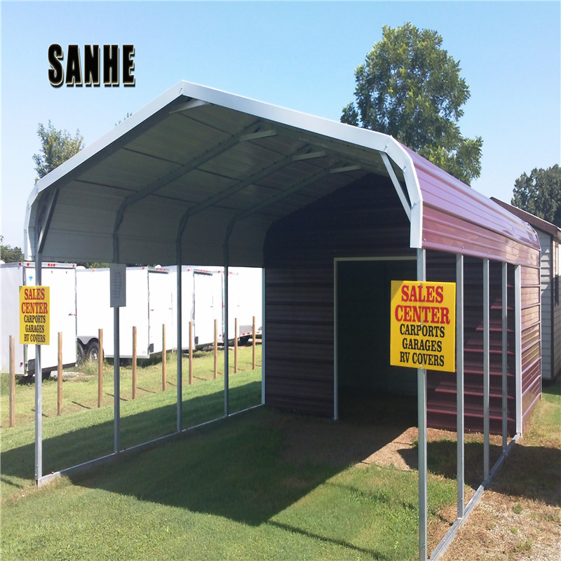 Easy Installation Partially or Fully Enclosed  Steel suqare tube frame carport barn