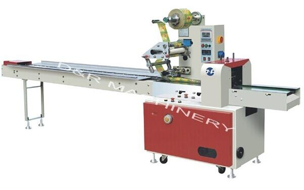 Flow wrapping machine 3KW, automatic small food packing machine