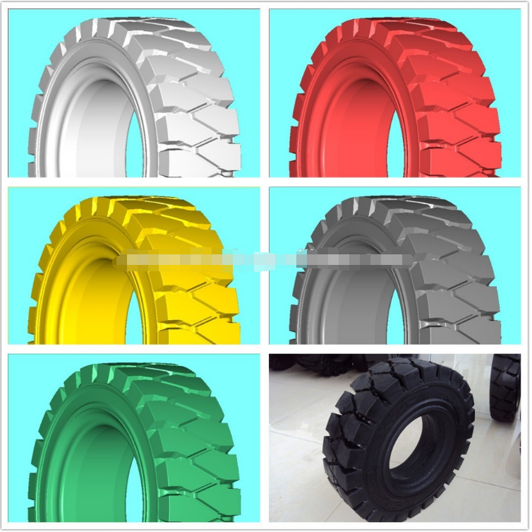 Forklift solid tyre with a rich Natural Rubber tread