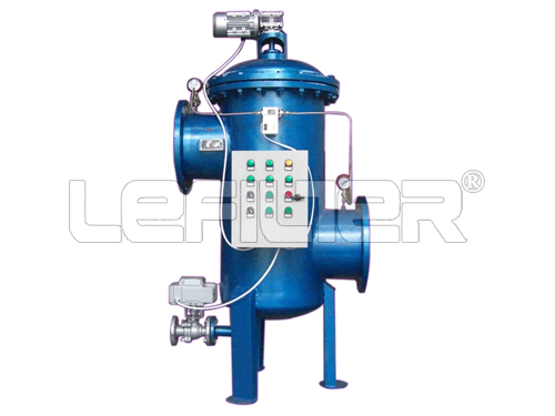 Automatic cleaning water filter housing