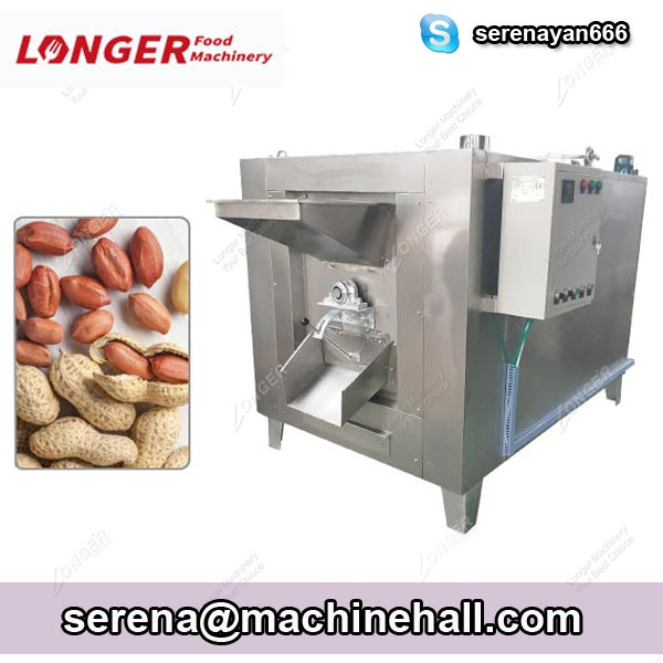 Drum Type Peanut Nuts Roasting Machine 100-500 KG / H